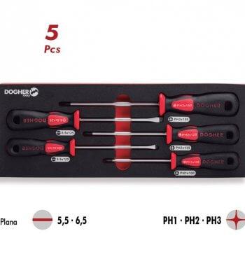 ست جعبه پیچ گوشتی دسته قرمز-مشکی دوگر